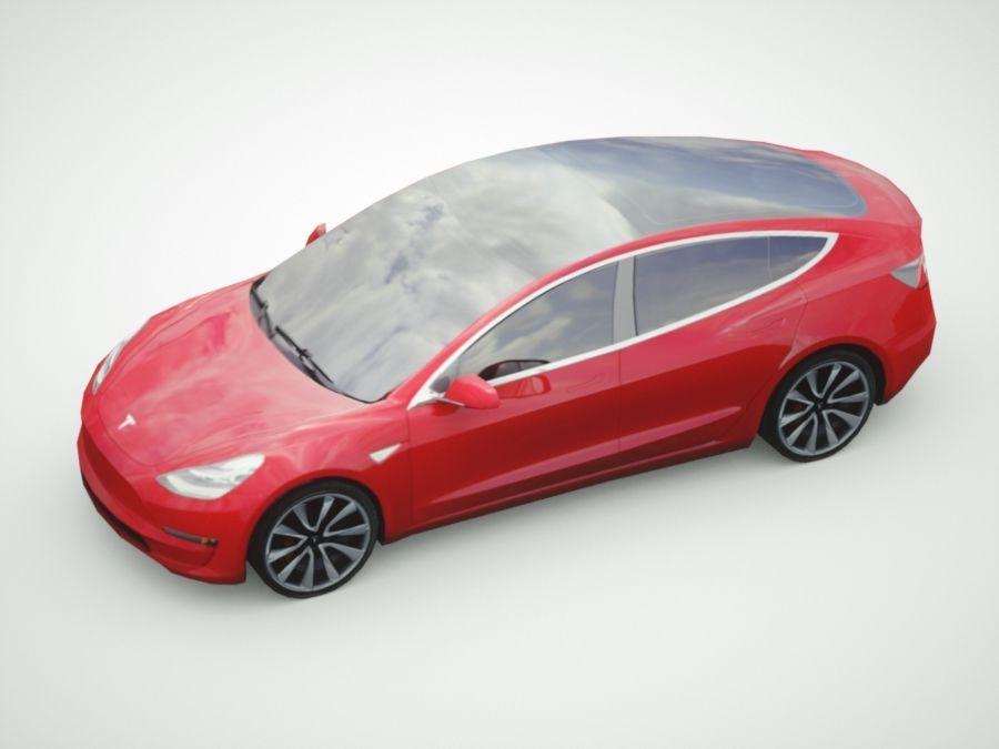 特斯拉模型3红色 royalty-free 3d model - Preview no. 3
