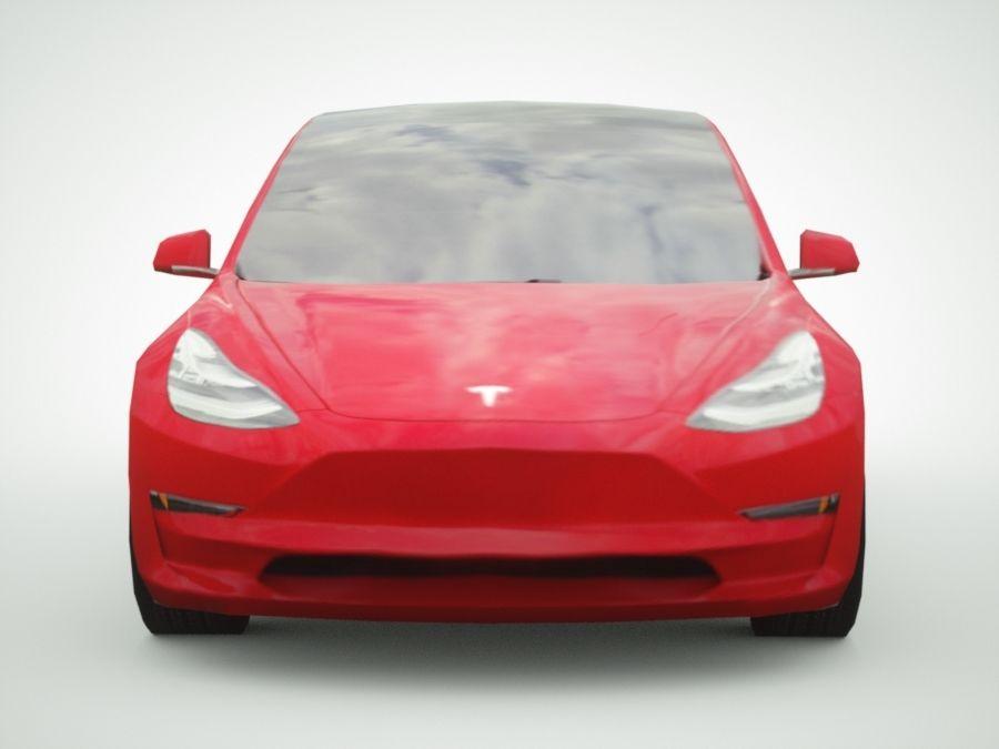 特斯拉模型3红色 royalty-free 3d model - Preview no. 6