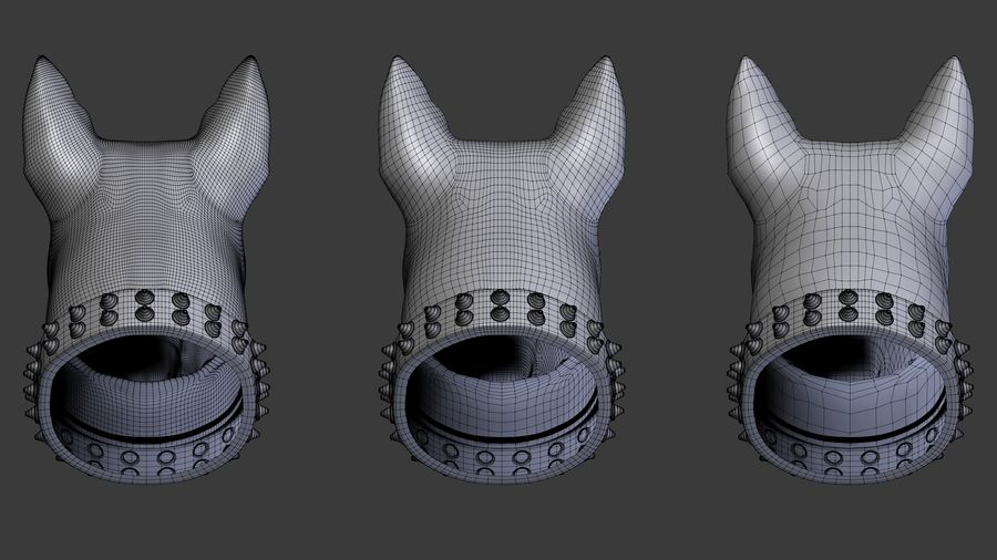 bull terrier head royalty-free 3d model - Preview no. 6