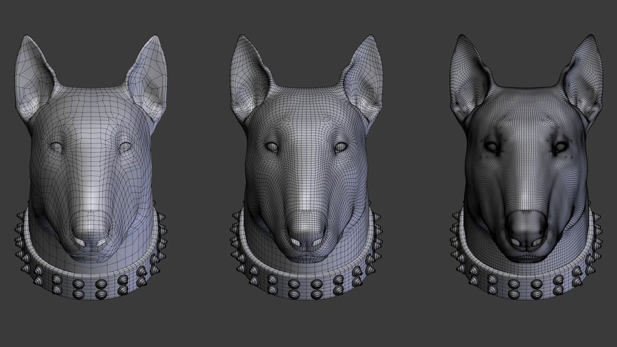 bull terrier head royalty-free 3d model - Preview no. 5