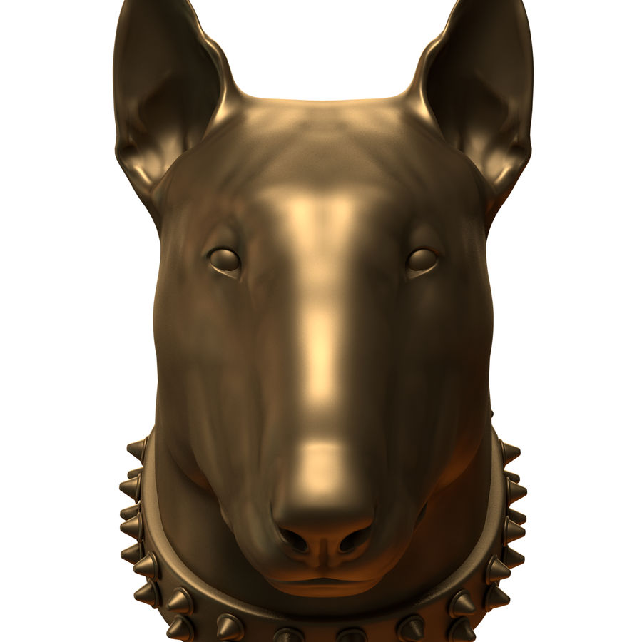 bull terrier head royalty-free 3d model - Preview no. 4
