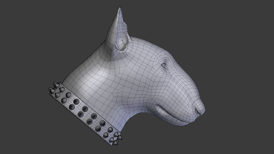 bull terrier head royalty-free 3d model - Preview no. 8
