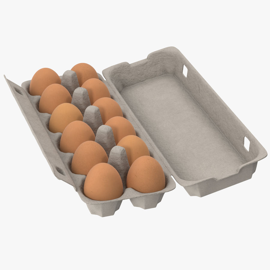 Egg Container 01 Open and Closed royalty-free 3d model - Preview no. 3