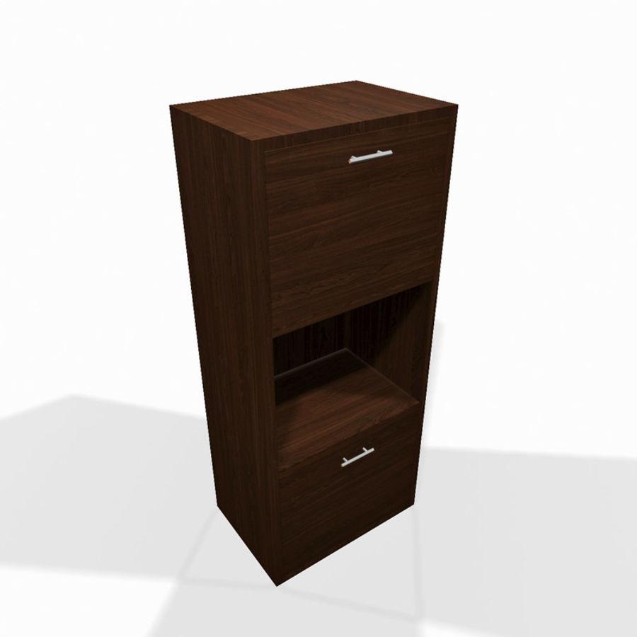 Nowoczesna drewniana półka do salonu royalty-free 3d model - Preview no. 1