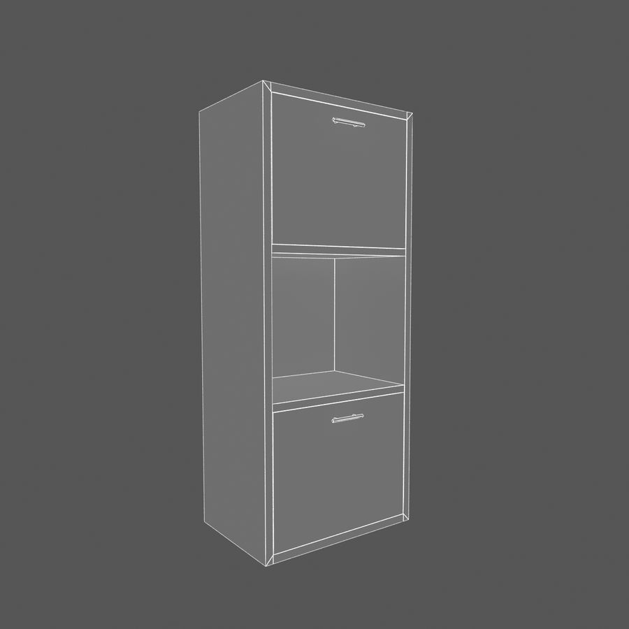 Nowoczesna drewniana półka do salonu royalty-free 3d model - Preview no. 5