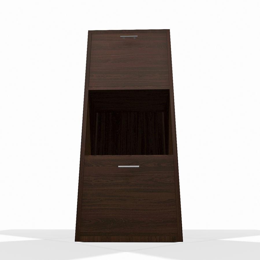 Nowoczesna drewniana półka do salonu royalty-free 3d model - Preview no. 3