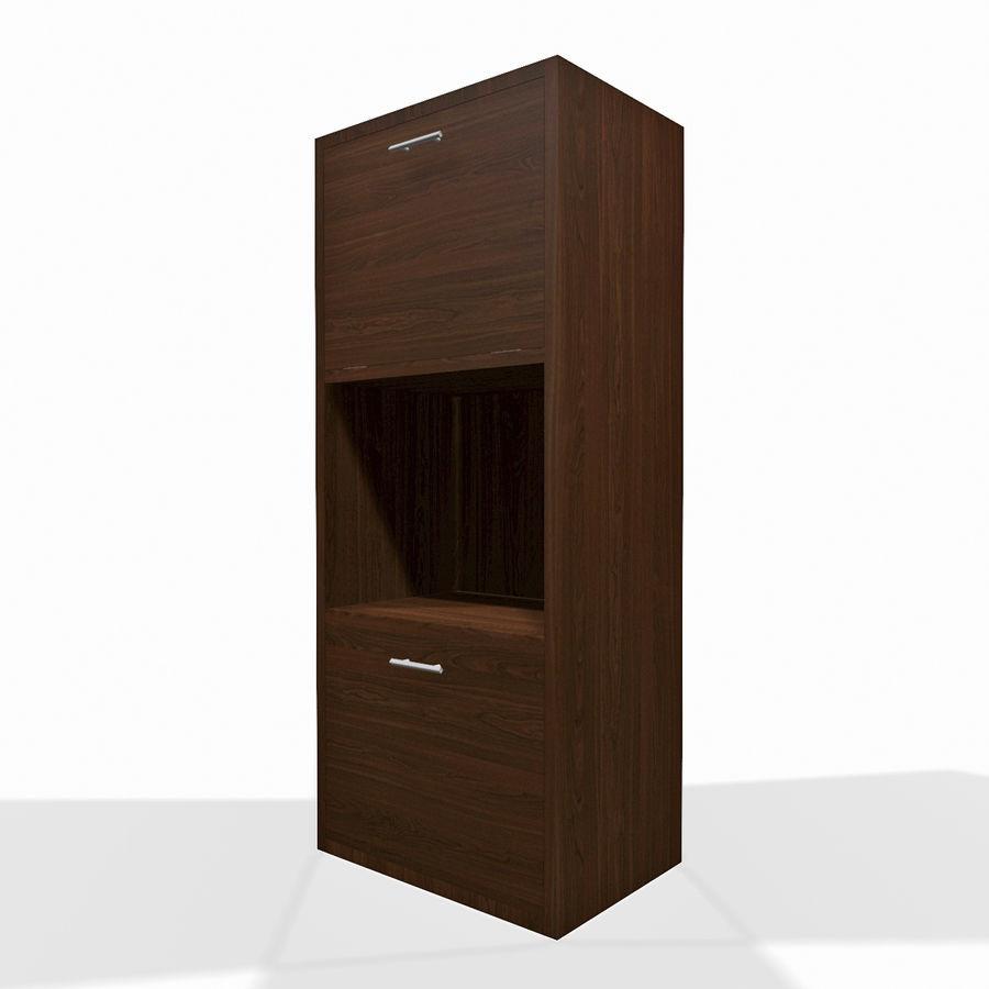 Nowoczesna drewniana półka do salonu royalty-free 3d model - Preview no. 2
