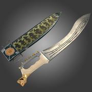 Grekiska Kopis svärd med fall 3d model