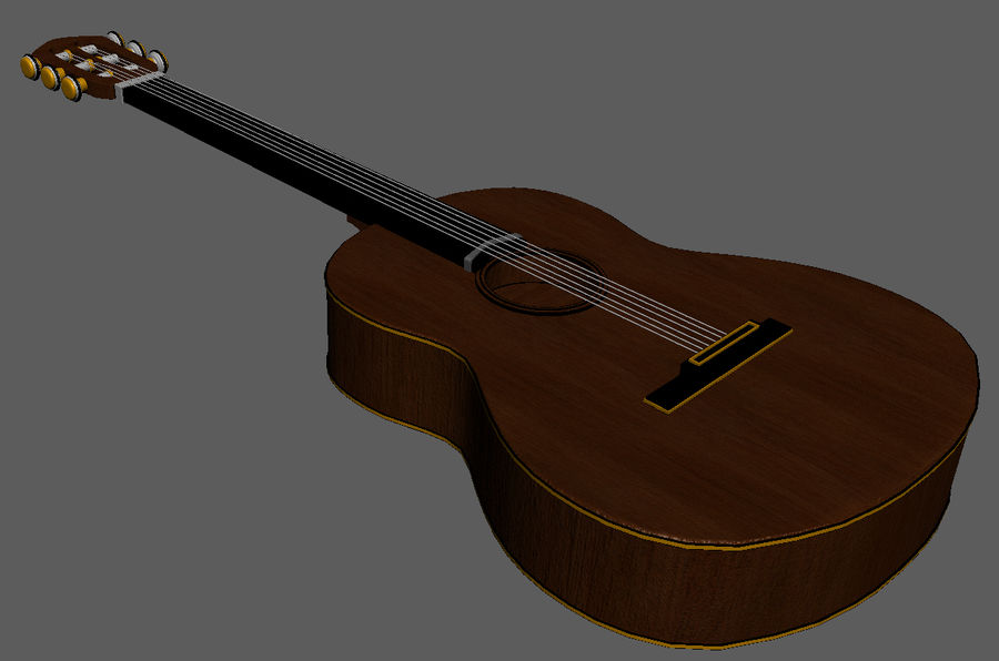 Spanish Guitar royalty-free 3d model - Preview no. 7