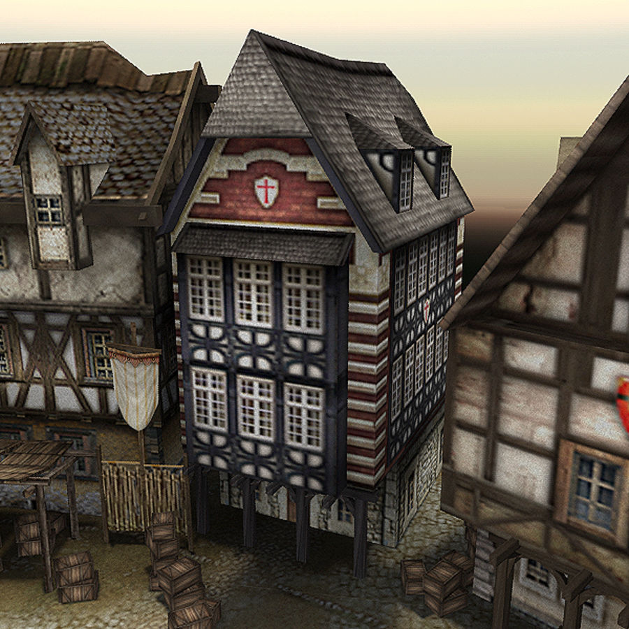 Medieval Village - Game Ready royalty-free 3d model - Preview no. 10