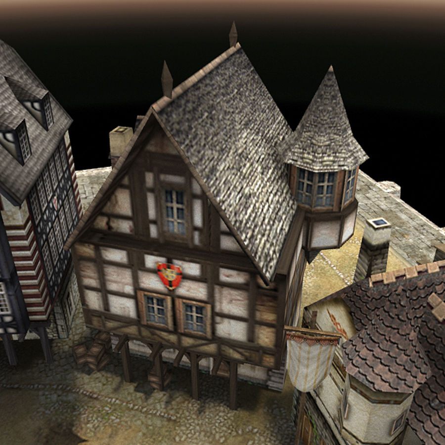 Medieval Village - Game Ready royalty-free 3d model - Preview no. 11