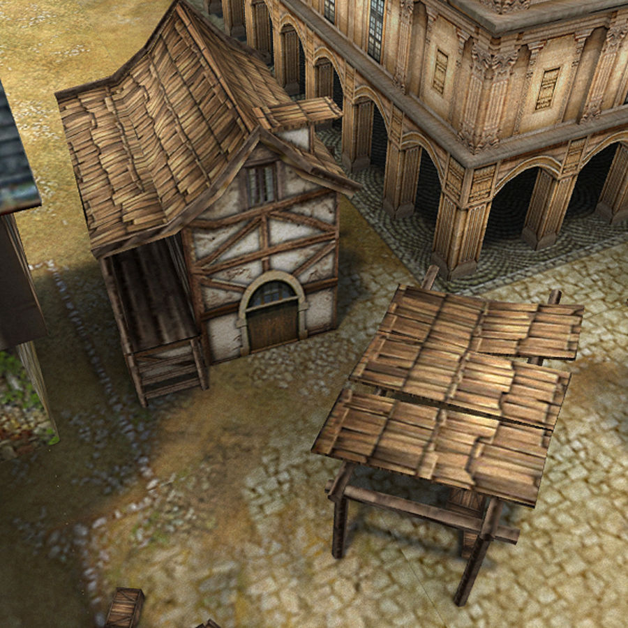 Medieval Village - Game Ready royalty-free 3d model - Preview no. 9
