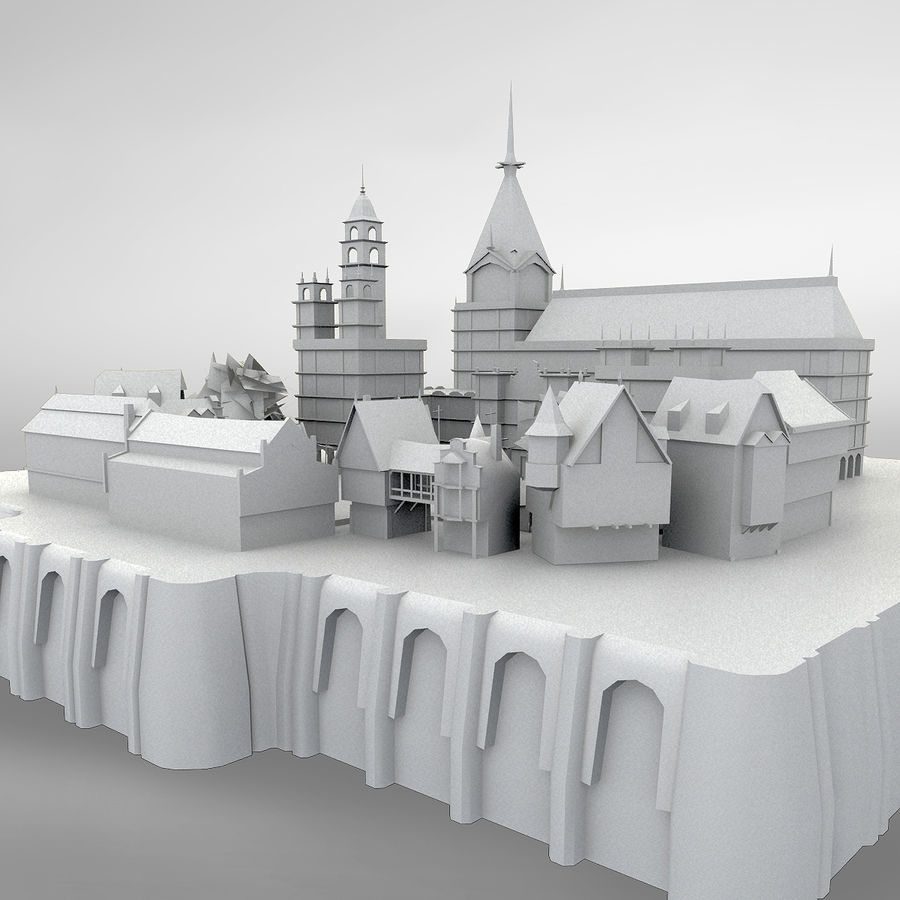 Medieval Village - Game Ready royalty-free 3d model - Preview no. 2