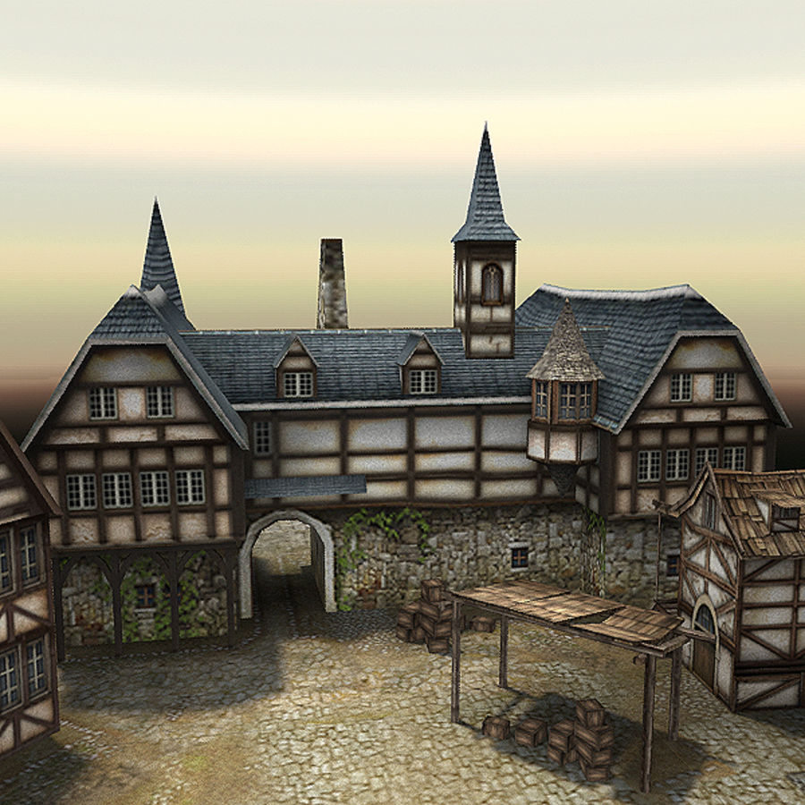 Medieval Village - Game Ready royalty-free 3d model - Preview no. 8