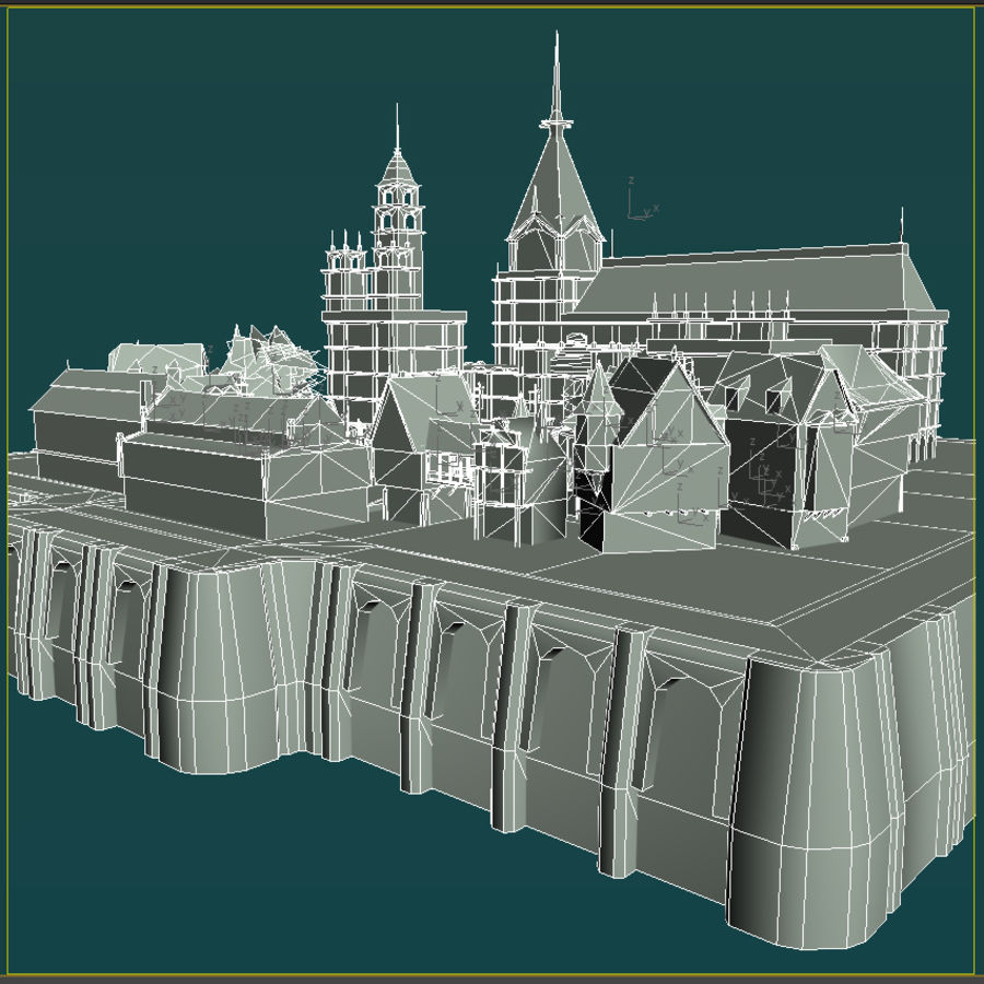 Medieval Village - Game Ready royalty-free 3d model - Preview no. 3