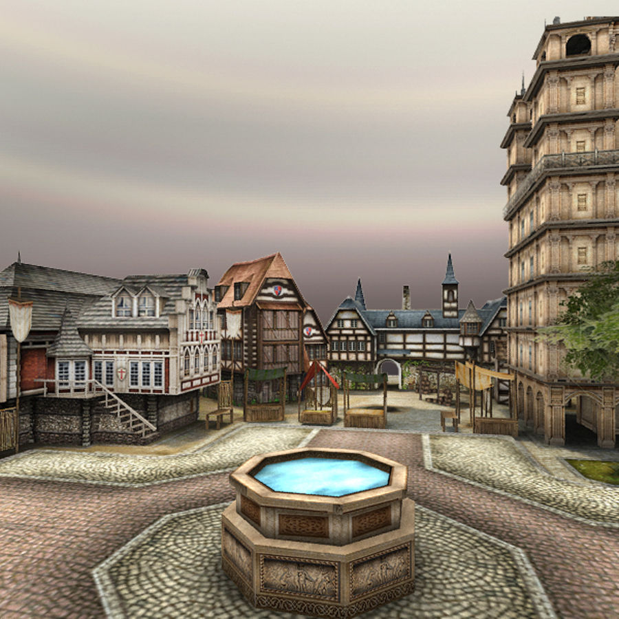 Medieval Village - Game Ready royalty-free 3d model - Preview no. 4