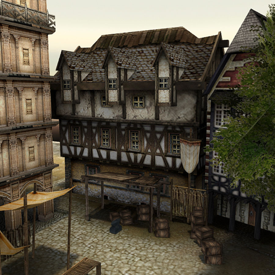 Medieval Village - Game Ready royalty-free 3d model - Preview no. 6