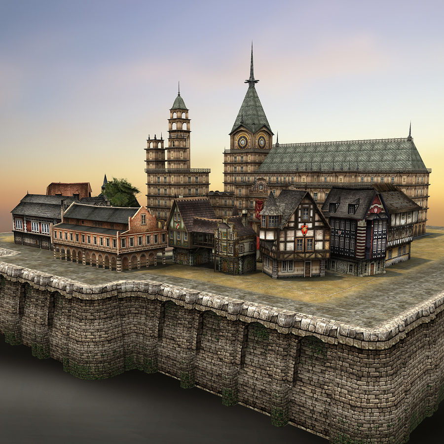 Medieval Village - Game Ready royalty-free 3d model - Preview no. 1