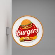 Wall signboard burger 3d model