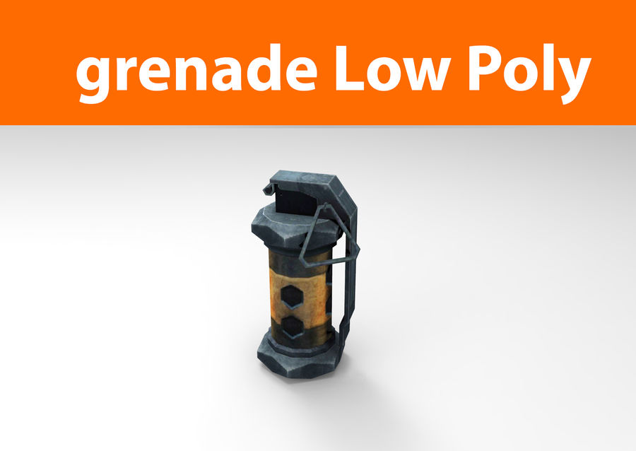 grenade low poly weapon game ready royalty-free 3d model - Preview no. 1