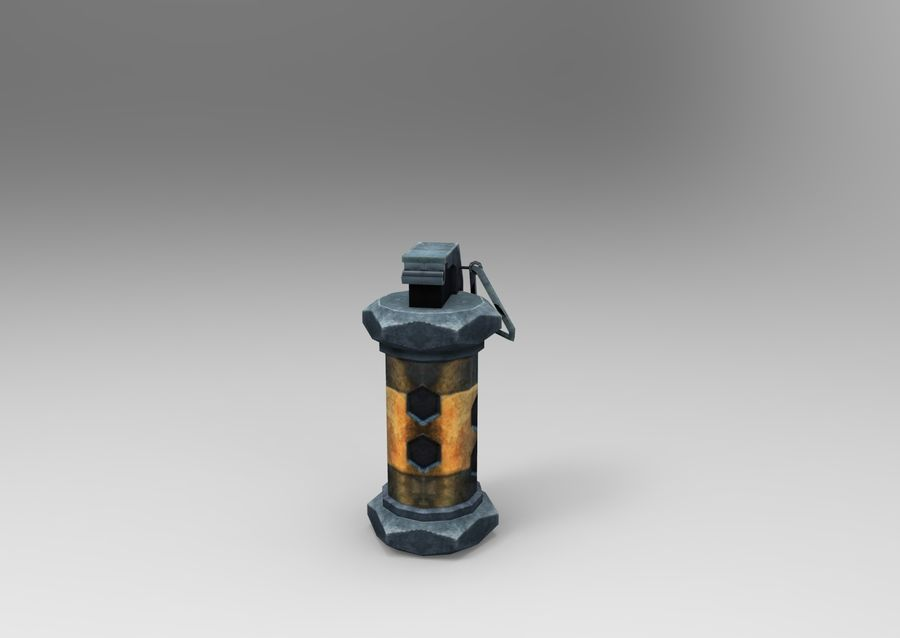 grenade low poly weapon game ready royalty-free 3d model - Preview no. 6