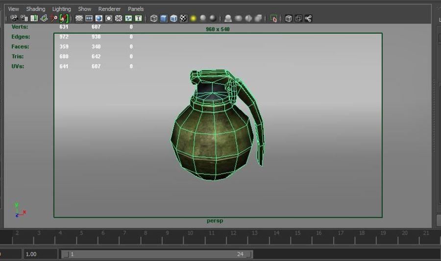 grenade basse poly jeu prêt royalty-free 3d model - Preview no. 51