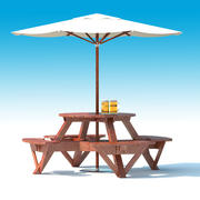 Garden Furniture: exterior Picnic deck Table with umbrella, Parasol and Beer for outdoor cafe or terrace 3d model