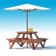 Trädgårdsmöbler: yttre picknickdäck Bord med paraply, parasoll och öl för utomhuscafé eller terrass 3d model
