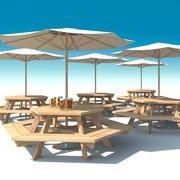 Utemöbler: exteriör Picknickdäck Bord med paraply parasoll och öl för café, terrass eller trädgård. 3d model