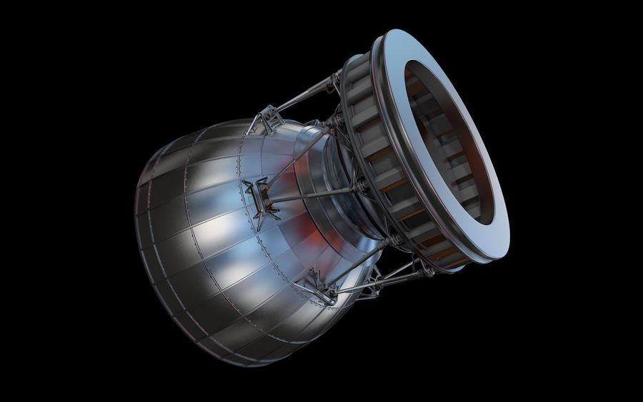 Rocket Booster Engine royalty-free 3d model - Preview no. 4