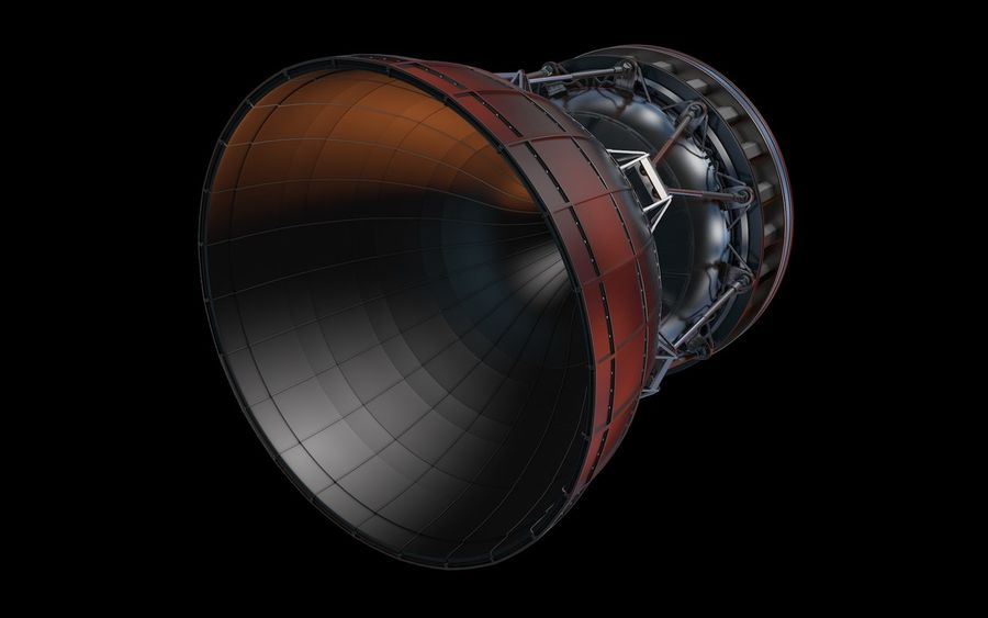 Rocket Booster Engine royalty-free 3d model - Preview no. 2