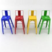 Tall Metal Stool With Back 3d model
