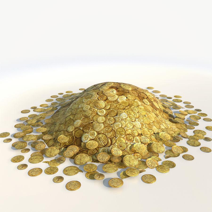 Kupie złote monety low poly royalty-free 3d model - Preview no. 4