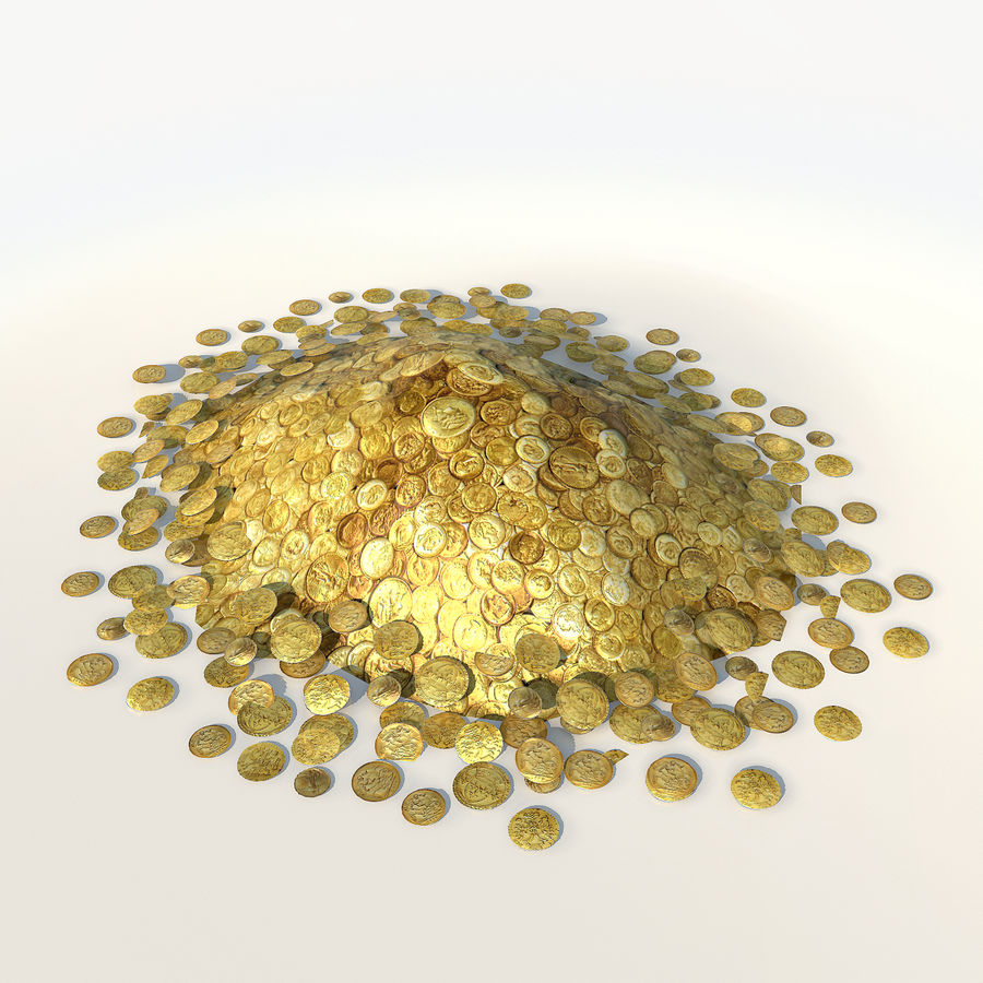 Kupie złote monety low poly royalty-free 3d model - Preview no. 2