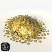 Pile of gold coins low poly 3d model