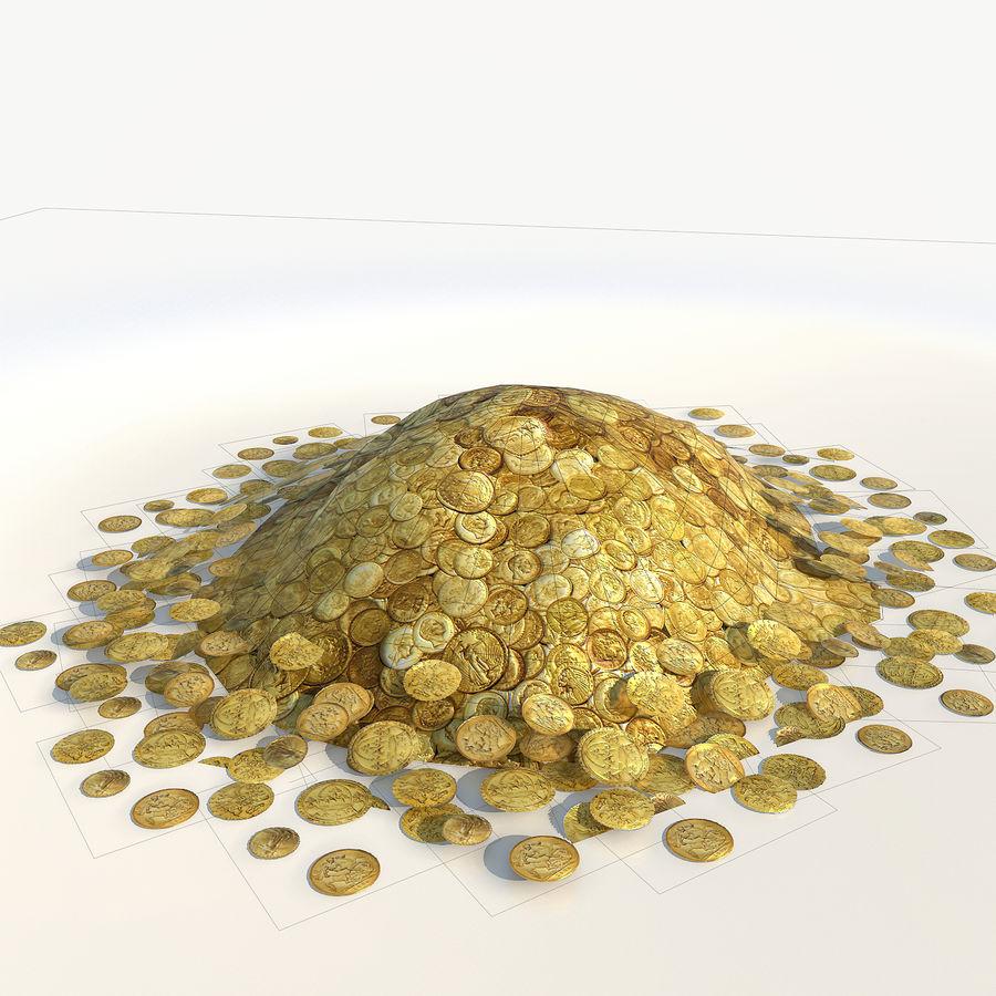 Kupie złote monety low poly royalty-free 3d model - Preview no. 5