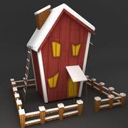 Modüler düşük poli kar evi 3 3d model