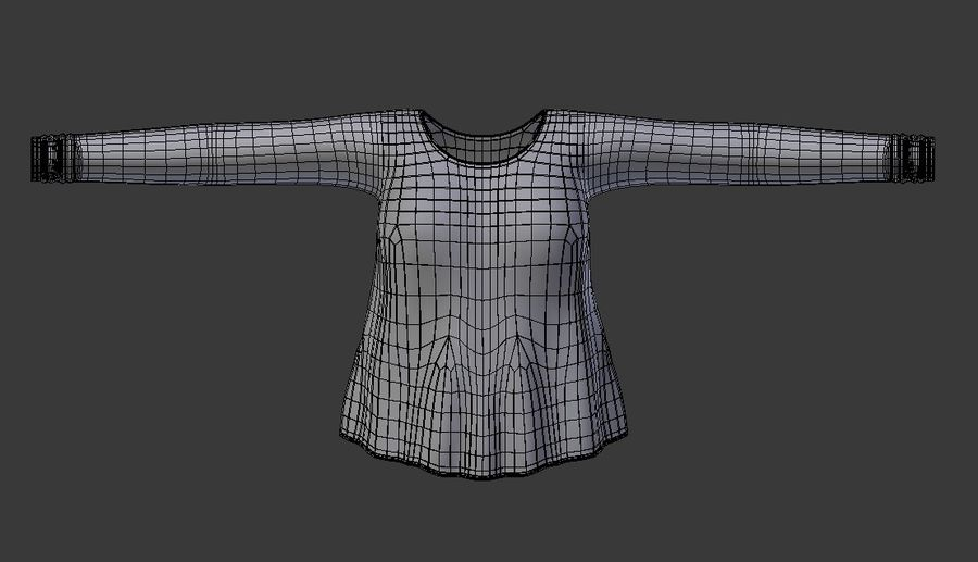 Sweatshirt Blue royalty-free 3d model - Preview no. 10