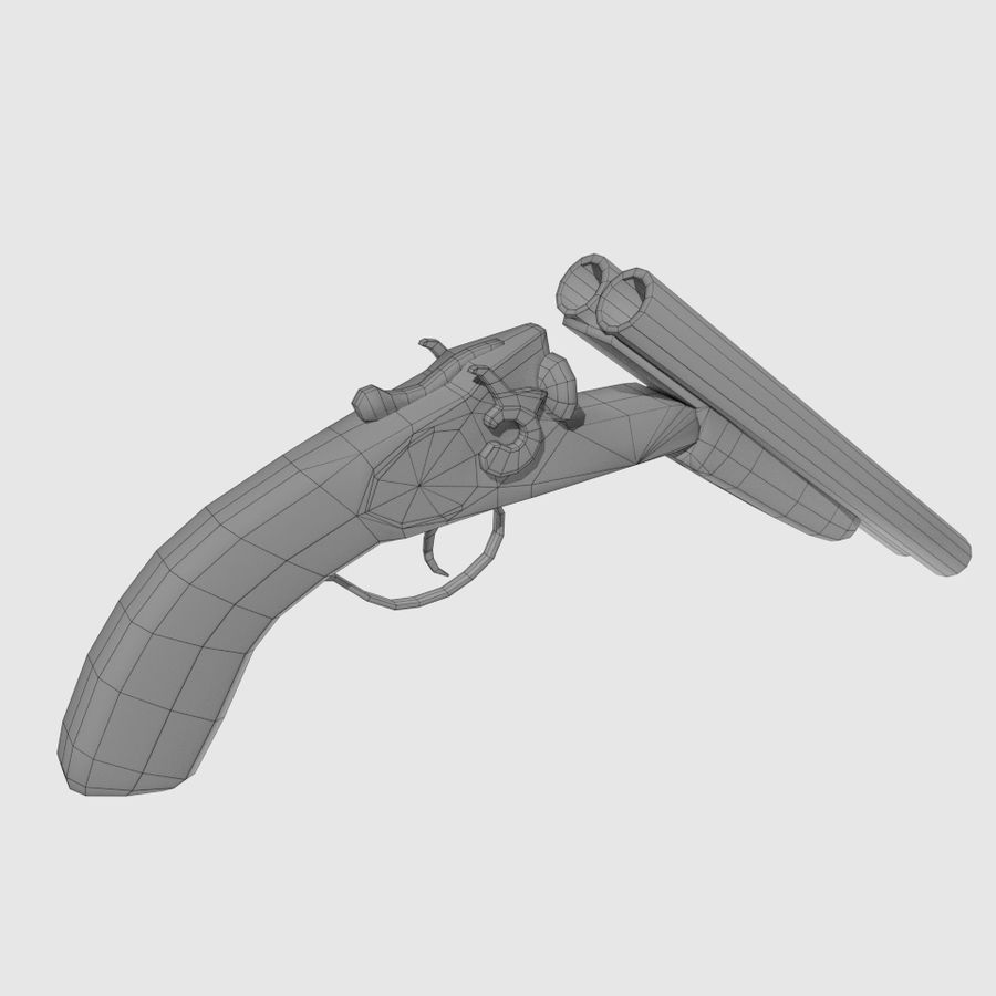 Sawed Off Shotgun royalty-free 3d model - Preview no. 5