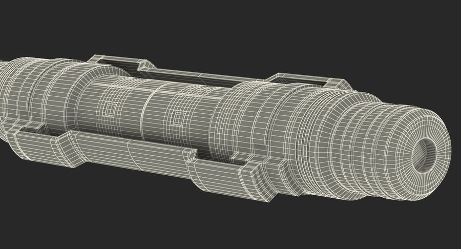Anodized Ram Hydraulic Cylinder Sci-Fi 3D Model royalty-free 3d model - Preview no. 15