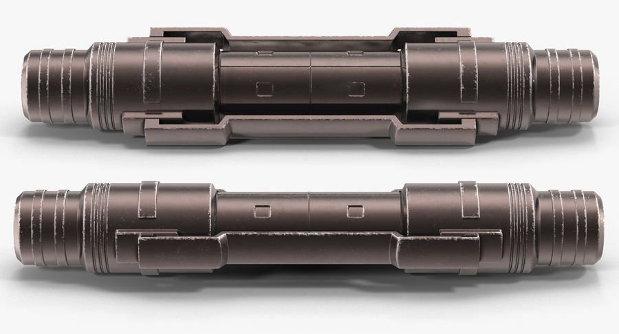 Anodized Ram Hydraulic Cylinder Sci-Fi 3D Model royalty-free 3d model - Preview no. 3
