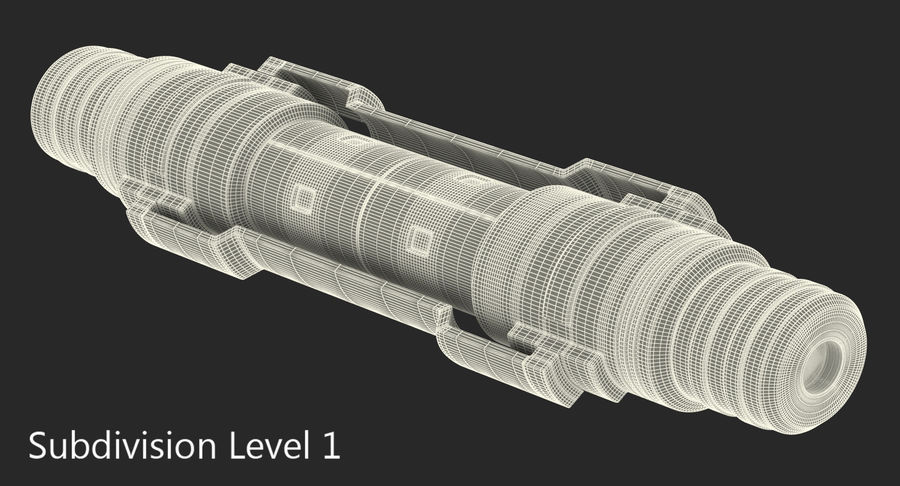Anodized Ram Hydraulic Cylinder Sci-Fi 3D Model royalty-free 3d model - Preview no. 10