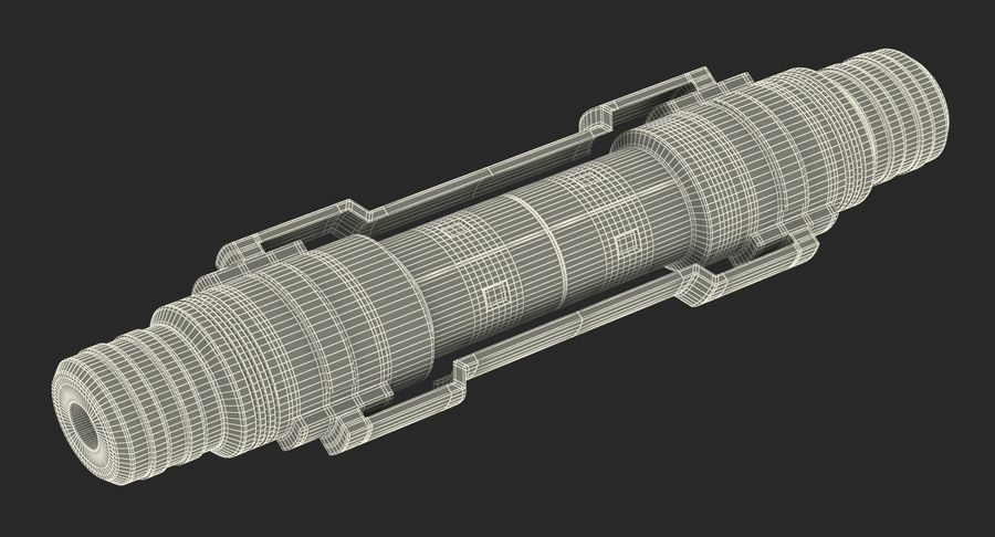 Anodized Ram Hydraulic Cylinder Sci-Fi 3D Model royalty-free 3d model - Preview no. 16