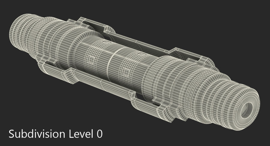 Anodized Ram Hydraulic Cylinder Sci-Fi 3D Model royalty-free 3d model - Preview no. 9