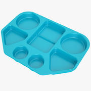 Lunch Food Tray 02 Blue 3d model