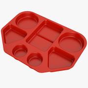 Bandeja de comida de almoço 02 vermelho 3d model