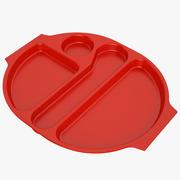 Bandeja de comida de almoço 04 vermelho 3d model
