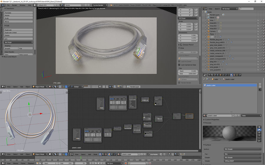 Cable RJ45 royalty-free modelo 3d - Preview no. 8