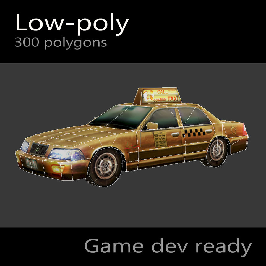 車のタクシー royalty-free 3d model - Preview no. 2