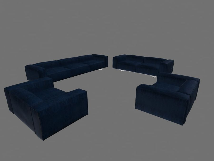 Dark Blue Furniture Sets royalty-free 3d model - Preview no. 2